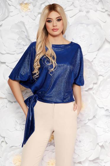 StarShinerS blue elegant flared women`s blouse from shiny fabric
