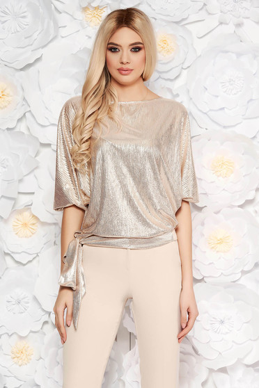 StarShinerS gold elegant flared women`s blouse from shiny fabric