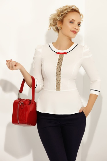 Fofy white women`s shirt office with tented cut slightly elastic cotton frilled