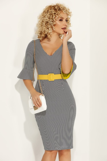 Fofy mustard dress office midi pencil from elastic fabric accessorized with belt