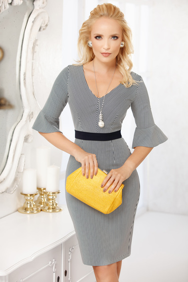 Mustard dress office midi pencil from elastic fabric accessorized with belt