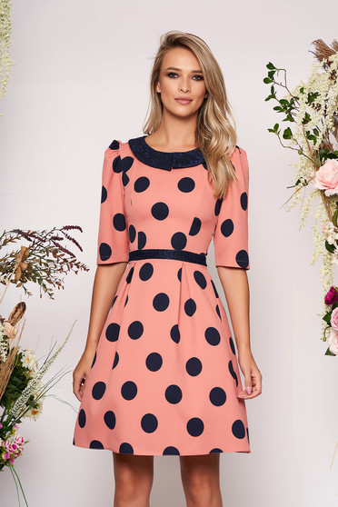 LaDonna coral elegant daily cloche dress slightly elastic fabric with dots print with round collar