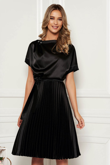 StarShinerS black dress elegant cloche midi from satin accessorized with tied waistband folded up