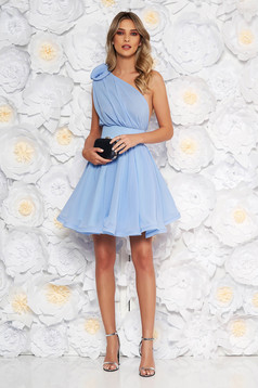 Ana Radu luxurious lightblue dress from veil fabric with inside lining cloche accessorized with tied waistband