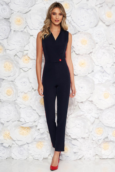 PrettyGirl darkblue elegant jumpsuit with tented cut with v-neckline from elastic fabric