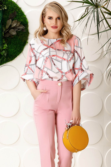 PrettyGirl rosa elegant flared women`s blouse bell sleeves from satin fabric texture with graphic print