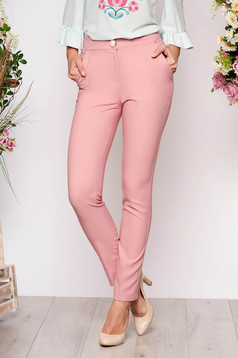 PrettyGirl rosa elegant office trousers straight slightly elastic fabric