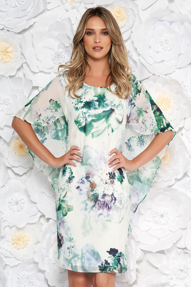 Lightgreen elegant dress from veil fabric with floral print with tented cut fabric overlay