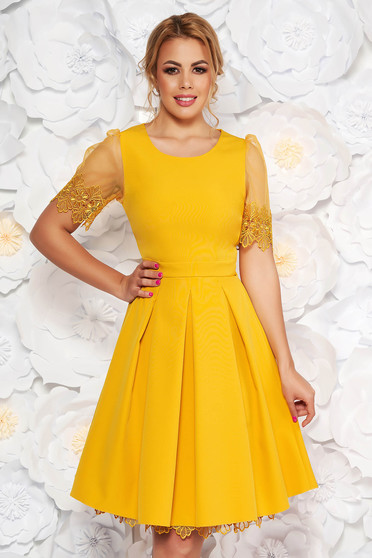 Yellow occasional cloche dress short transparent sleeves slightly elastic fabric