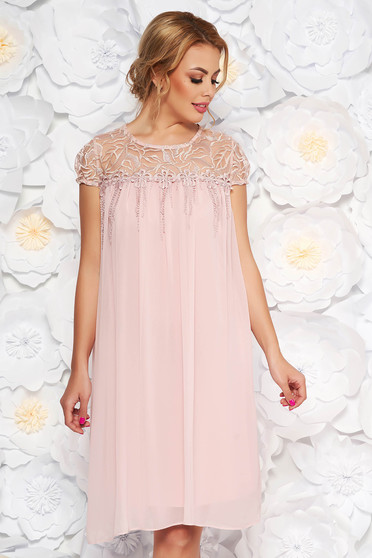 Rosa occasional flared dress from veil fabric with laced sleeves with floral details