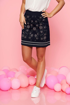 Top Secret darkblue casual high waisted skirt slightly elastic cotton with embroidery details