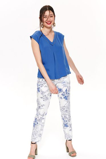 Top Secret blue flared women`s blouse with v-neckline thin fabric