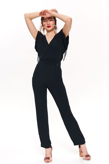 Top Secret darkblue elegant long jumpsuit sleeveless with v-neckline thin fabric