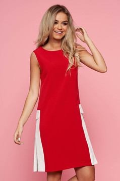 Top Secret red casual daily a-line dress cotton