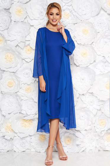 Blue elegant midi dress sleeveless soft fabric without clothing