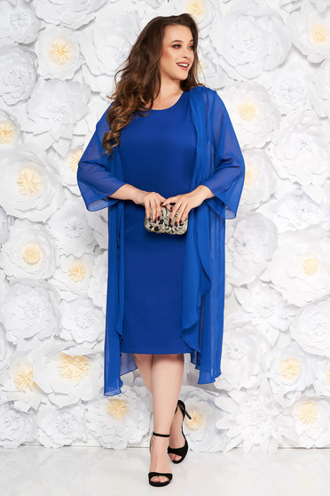 Blue elegant midi dress sleeveless soft fabric without clothing