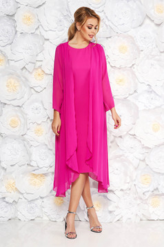 Fuchsia elegant midi dress sleeveless soft fabric without clothing