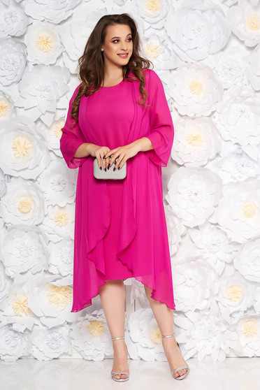 Fuchsia elegant midi dress sleeveless soft fabric without clothing