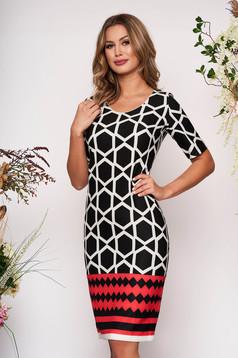 Black daily pencil dress slightly elastic fabric with geometrical print