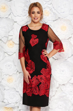 Red occasional dress with tented cut transparent sleeves fabric overlay