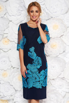 Turquoise occasional dress with tented cut transparent sleeves fabric overlay