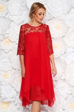 Red occasional dress straight with laced sleeves slightly elastic fabric from veil fabric