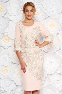 Rosa occasional midi dress with tented cut slightly elastic fabric lace overlay
