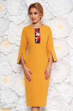 Mustard elegant pencil dress 3/4 sleeve slightly elastic fabric