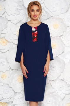 Darkblue elegant pencil dress 3/4 sleeve slightly elastic fabric