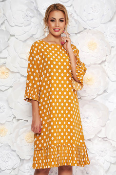 Mustard daily flared dress with bell sleeve thin fabric dots print