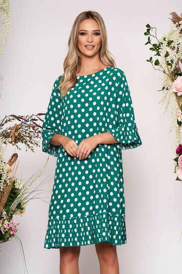 Green daily flared dress with bell sleeve thin fabric dots print