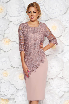 Rosa occasional midi dress 3/4 sleeve with tented cut slightly elastic fabric lace overlay