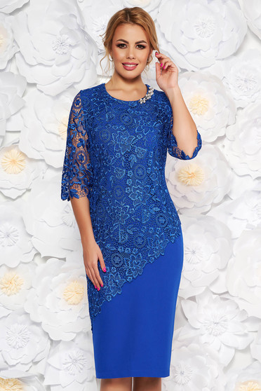 Blue occasional midi dress 3/4 sleeve with tented cut slightly elastic fabric lace overlay