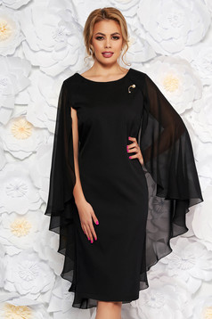 Black occasional dress with tented cut slightly elastic fabric voile overlay
