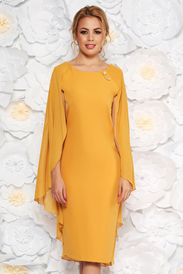 Mustard occasional dress with tented cut slightly elastic fabric voile overlay
