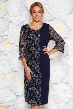Darkblue occasional dress with tented cut slightly elastic fabric lace overlay