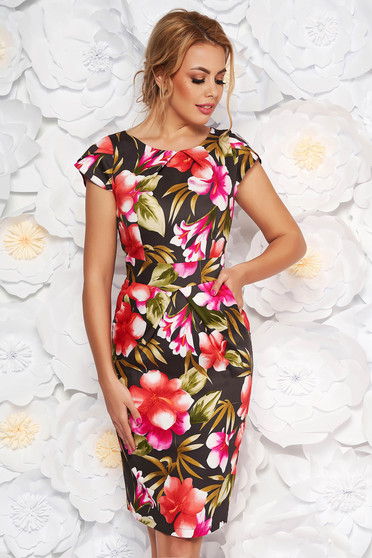 Khaki daily pencil dress slightly elastic cotton with floral prints