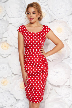 Red casual dress slightly elastic cotton with dots print