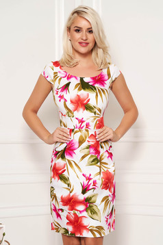 Midi elegant cotton pencil white dress with floral prints and short sleeve