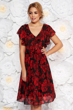 Black daily cloche dress from veil fabric with v-neckline with ruffle details
