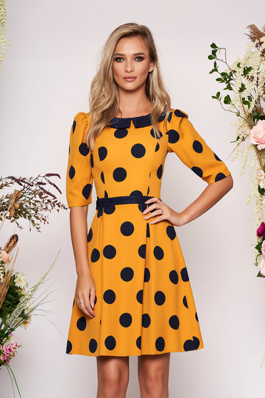 LaDonna mustard elegant daily cloche dress slightly elastic fabric with dots print with round collar