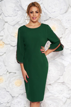 Green occasional pencil dress slightly elastic fabric with cut-out sleeves