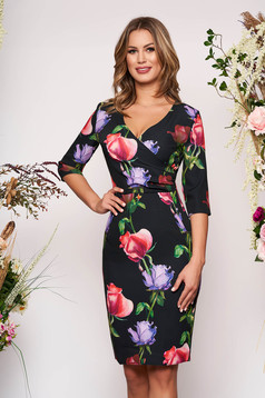 Black elegant pencil dress with v-neckline soft fabric with floral prints