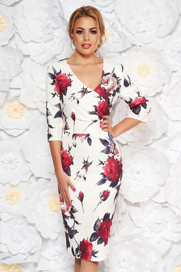 White elegant pencil dress with v-neckline soft fabric with floral prints