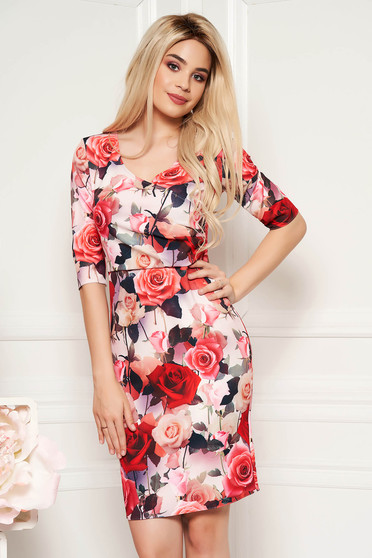 Red elegant pencil dress with v-neckline soft fabric with floral prints
