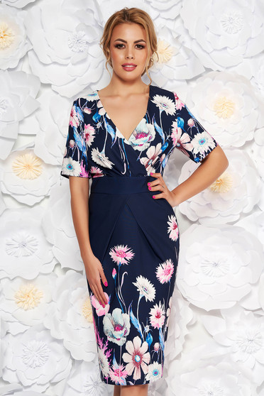 Darkblue elegant pencil dress with v-neckline slightly elastic fabric with floral prints