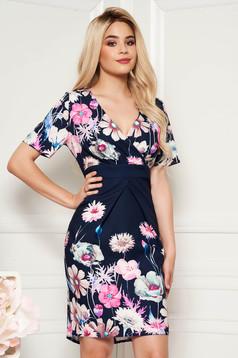 Darkblue elegant pencil dress with v-neckline slightly elastic fabric with floral prints