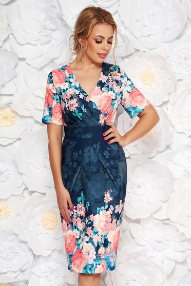 Darkblue elegant pencil dress with v-neckline slightly elastic fabric with floral print