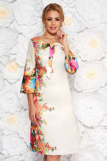 White elegant a-line dress from satin fabric texture with floral prints