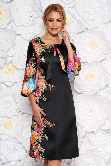 Black elegant a-line dress from satin fabric texture with floral prints